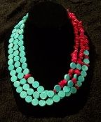 turquoise and coral necklace...Saw this in person at a shop in Midlo...beautiful!!!