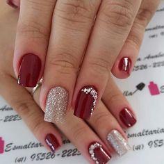 Unhas foscas, unhas vermelhas, jóias de unhas, belas unhas decoradas, u Cute Nails, Pretty Nails, My Nails, Manicure Colors, Nail Colors, Manicure Ideas, Red Manicure, Holiday Nails, Christmas Nails