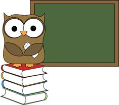Owl with Books and Chalkboard http://www.mycutegraphics.com/