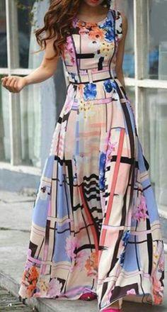 Ericdress Plaid Floral Print Sleeveless Maxi Dress Maxi Dresses - All About Pretty Dresses, Beautiful Dresses, Gorgeous Dress, Modest Fashion, Fashion Dresses, Women's Fashion, Fashion Clothes, Fashion News, Fashion Online