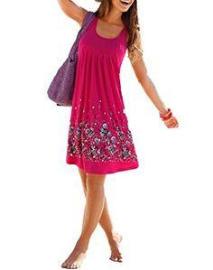 ef5f7458b0deda ASSKDAN Damen Sommer Kleid Drucken Knielang ärmellos Runder Kragen A-Linie  Strandkleid Lose Sommerkleid -