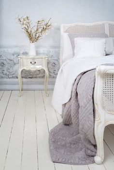 French Grey Painted Rattan Bed. #Frenchbedroom