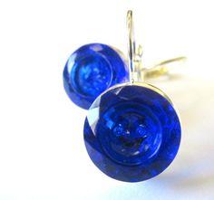 Vintage glass 2-hole button earrings