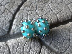 Silver Glass Dot Pair Lampwork Beads by Cherie by CherieRanfranz