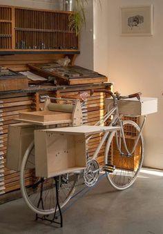 Printing Press, Screen Printing, Atelier Theme, Bike Food, Pochade Box, Bike Cart, Art Cart, Mobile Art, Bike Store