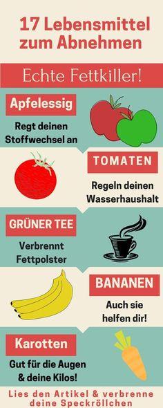Lebensmittel zum Abnehmen: Verbrenne mit diesen 17 Lebensmitteln deine Speckröllchen! #abnehmen #gesund #Lebensmittel #fatburner