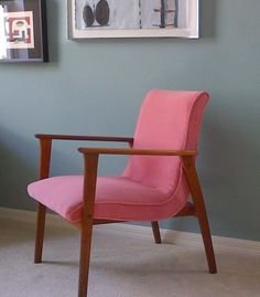 FREE SHIPPING Mid Century Danish Modern Chair in Pink. $695.00, via Etsy.