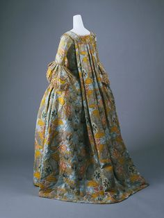 Dress, French, mid-18th Century, silk, metallic. a) Length at CB: 55 in. (139.7 cm), b) Total Length: 36 in. (91.4 cm). Purchase, Irene Lewisohn Bequest, 1962. C.I.62.28a, b. The Metropolitan Museum of Art © 2000–2016 The Metropolitan Museum of Art