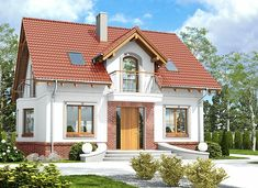 Dom Dla Ciebie 5 bez garażu [B] - zdjęcie 3 House Paint Exterior, Dream House Exterior, Dream House Plans, Cottage Plan, House Painting, Bungalow, Sweet Home, House Design, Mansions