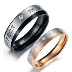 $31.95-Titanium Steel Promise Couple Rings With Inscription You Are Perfect In My Mind