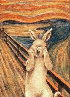 'The Scream' by bunny.please don't make me into a backpack. Funny Bunnies, Cute Funny Animals, Cute Bunny, Bunny Art, Bunny Bunny, Cult, Rabbit Art, Cute Art, Art History