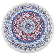 Red leaf Blue Round Mandala Beach Towel Tassel Fringing Beach Throw Round Mat Table Cloth Wall Tapestries Polyester 150x150cm