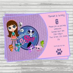 My Littlest Pet Shop Centerpiece by ScrapbookSolutions on Etsy Little Pet Shop, Little Pets, Animals Images, Party Themes, Party Ideas, Diy Kits, Lps, Birthday Invitations, Dog Cat