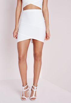 Missguided - Bandage Asymmetric Hem Mini Skirt White