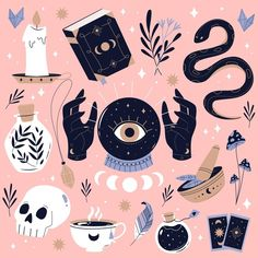 Esoteric, Art Prints, Halloween Illustration, Art Inspo, Illustration, Drawings, Art, How To Draw Hands, Watercolor Eyes