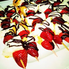 angel food cake\strawberries with drizzled dark chocolate kabobs for easter brunch