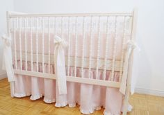 Linen Crib bedding light pink with ruffle gathered by MoodsStore