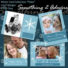 "Holiday Photo Card, ""Flake"" Collection, 4 5x7 PSD Files, Templates for Photographers : Holiday #etsy #design #graphic"