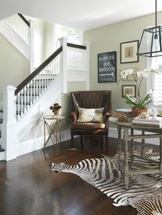 **Traditional design with flare--zebra rug under breakfast nook table