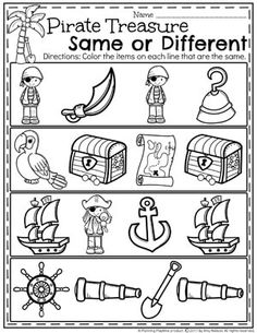 Preschool Pirate Worksheets - Same or Different