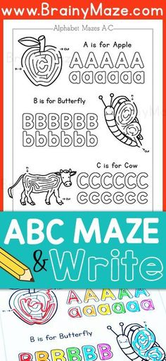 Free Alphabet Mazes for Kids! This collection of Alphabet mazes is great for… Learning Time, Learning The Alphabet, Early Learning, Abc Alphabet, Alphabet Activities, Writing Activities, Teaching Resources, Teaching Ideas, Kindergarten Centers