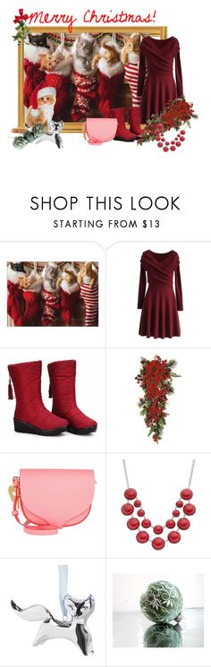 """""""Example set for 'Kitties for Christmas morning!'"""" by sarah-m-smith ❤ liked on Polyvore featuring Chicwish, Nearly Natural, Sophie Hulme and Jonathan Adler"""