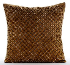Luxury Gold Trellis Decorative Pillows Cover, 16x16 Silk Throw Pillows Cover, Square Gold 3D Beaded Pillows Cover - Twisted Trellis ________________________________________________________________________________________  The design Twisted Trellis has been conceptualized and created, keeping in mind the finest details and needs to decorate your beautiful abode. It is a perfect addition to enhance your living room, bedroom, guestroom or office. I promise it will give a WOW factor to you and…