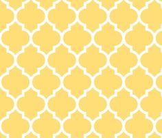 moroccan quatrefoil lattice in lemon yellow fabric by spacefem on Spoonflower - custom fabric: