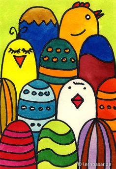 Grußkarte für Ostern Elementary Art Lesson Plans, Art For Kids, Crafts For Kids, Easter Arts And Crafts, Free Hand Rangoli Design, Ladybug Crafts, Art Classroom, Art Plastique, Preschool Crafts