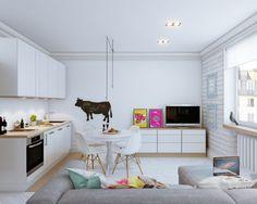 El primer apartamento viene de diseñadores Vjacheslav Zhugin y Olga Ursulenko.