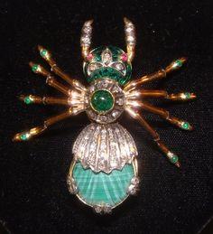 Faberge Black Spider Brooch