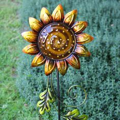 Garden Stakes · A Pretty Glass U0026 Metal Sunflower With Handpainted Detail.