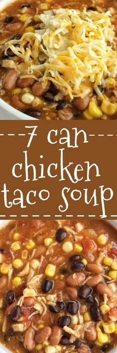 Dinner does not get any easier than this 7 can chicken taco soup! Dump 7 cans into a pot plus some seasonings and that's it! Serve with tortilla chips, cheese, and sour cream. You won't believe how yu (Crockpot Chicken Tacos) Crock Pot Recipes, Crock Pot Soup, Slow Cooker Recipes, Chicken Recipes, Cooking Recipes, Shrimp Recipes, Casserole Recipes, Vegetable Recipes, Pasta Recipes