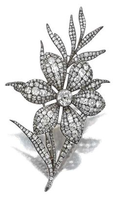 Attractive Diamond brooch, early 19th century. Designed as a floral spray…