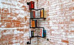 Iron Pipe Shelving Systems for Urban Loft Walls & Corners Pipe Bookshelf, Corner Bookshelves, Industrial Bookshelf, Bookshelf Design, Pipe Shelves, Industrial Pipe, Bookshelf Ideas, Book Shelves, Book Storage