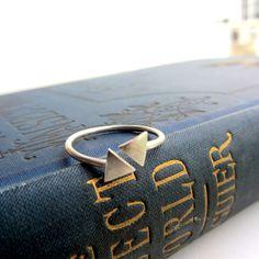 Geometric triangle arrow sterling silver adjustable ring, minimalist jewelry, simple, modern, tiny ring. $32.00, via Etsy.