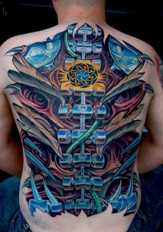 Biomechanical tattoos are so much popular tattoo style amongst men .Biomechancial tattoos are the tattoo designs for those who loves imagination and creativity .This kind of tattoo style idea begin from that movies in which .