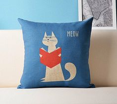 1 Cartoon cat  teacher style decorative linen by ohyescostume, $17.40