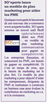 SO'xperts lance un modèle de plan marketing pour aider les PME;  MediaCom