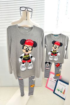 QZZ131 Autumn 0 6Y kids cartoon glass mickey family matching t shirt clothes father mother and son daughter long sleeve t shirts