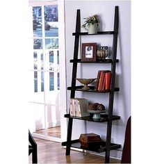 #home #office #ladder Unique 72″ High LEANING LADDER STYLE MAGAZINE / BOOK SHELF on Black Finish $34.91. Get the cheap price here!