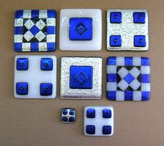 "3"", 2"", and 1"" Fused Dichroic Glass Tiles by Uneek Glass Fusions, via Flickr"