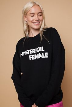 Calling all hysterics! Your favorite tee from Rachel Antonoff is now a cozy sweat so you can stay warm while still properly representing yourself.