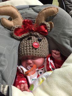 Reindeer crochet hats for triplets