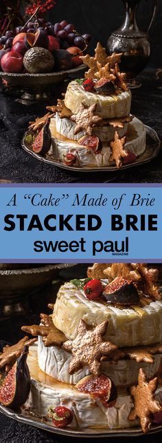 We stack brie and decorate it with honey, figs, and pepparkakor cookies! A layer cake made of cheese!