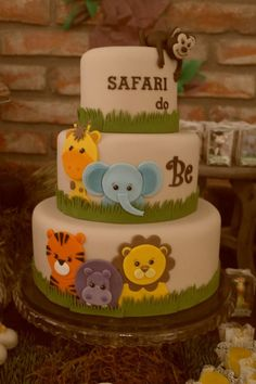Safari Baby Shower Cake Idea Best Picture For simple Birthday Cake For Your Taste You are looking for something, and it is going to tell you exactly what you are looking for, and you didn't find that Baby Cakes, Baby Shower Cakes, Safari Baby Shower Cake, Gateau Baby Shower, Baby Boy Shower, Cupcake Cakes, Safari Party, Safari Birthday Cakes, Safari Cakes