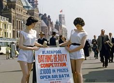 Bathing beauties: This photo shows a pair of beauty queens heading out in search of entrants for their Blackpool Bathing Beauty contest