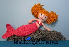 Lillie - Little Sister Doll in Mermaid Costume - Crochet Pattern by Alicia Moore of Featherby & Friends