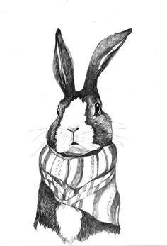 Rabbits Love Scarves Original Drawing by corelladesign on Etsy