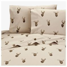 BROWNING Whitetails 4 Pc Full Size Sheet Set - Hunting Lodge Cabin Deer Wildlife #Browning #CountryRusticCabinLodgeHunting